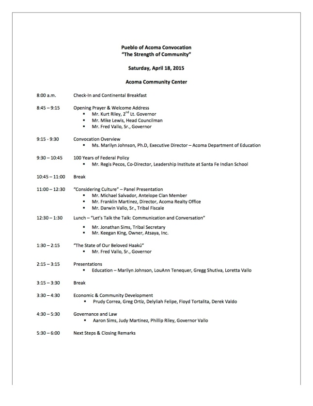 Acoma Convocation Agenda