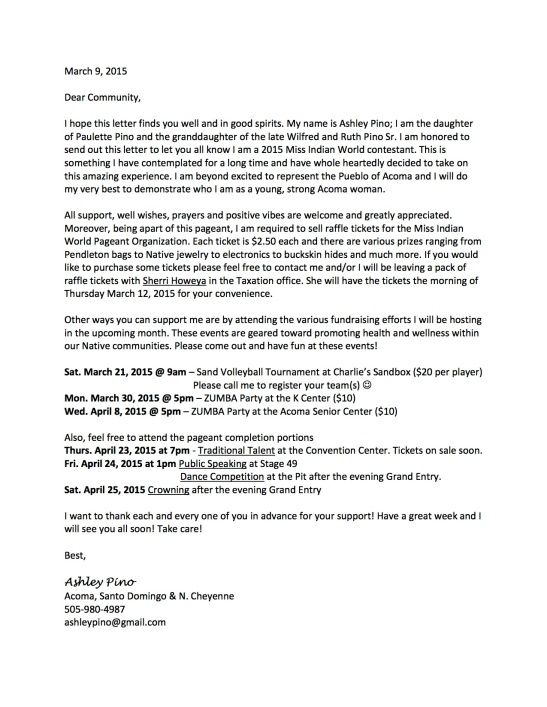 Letter to CommunityMIW