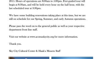 Sky City Cultural Center & Haak'u Museum Operations