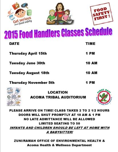 FOOD HANDLERS SCHEDULE 2015