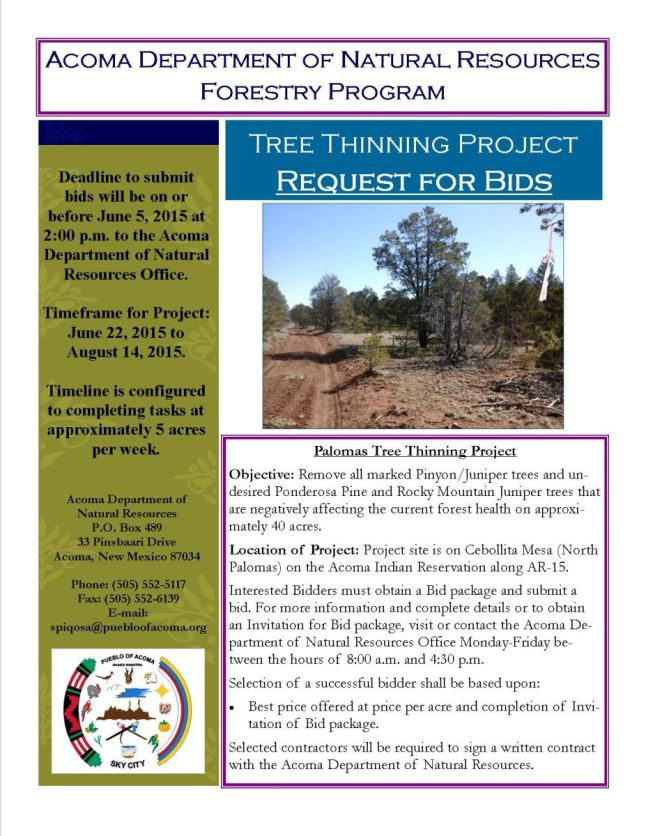 052115 Request for Bids Tree Thinning Project