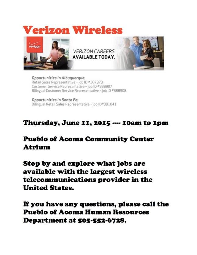 Verizon Wireless Recruitment 6-11-15