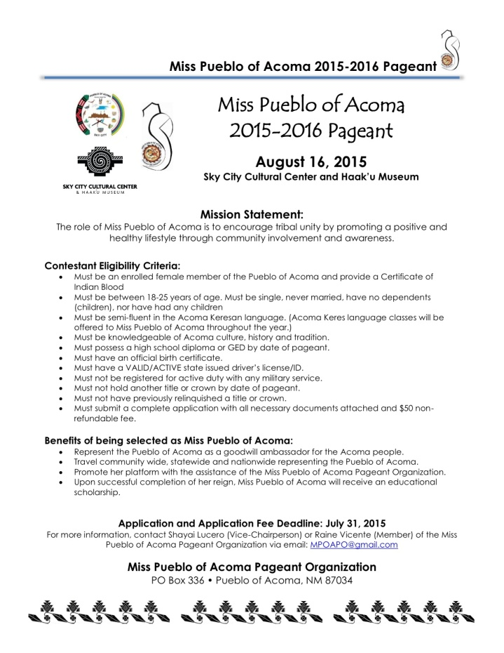 Miss Acoma application