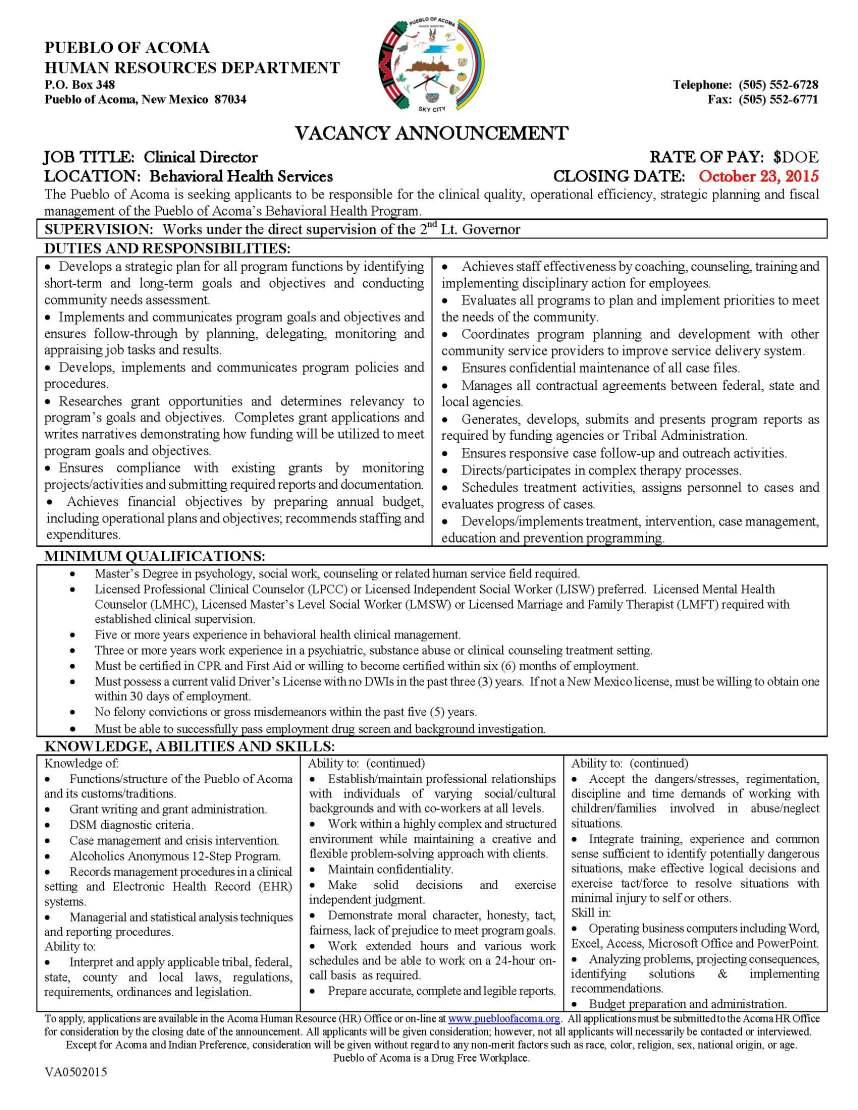 VA0502015 Clinical Director (BHS)