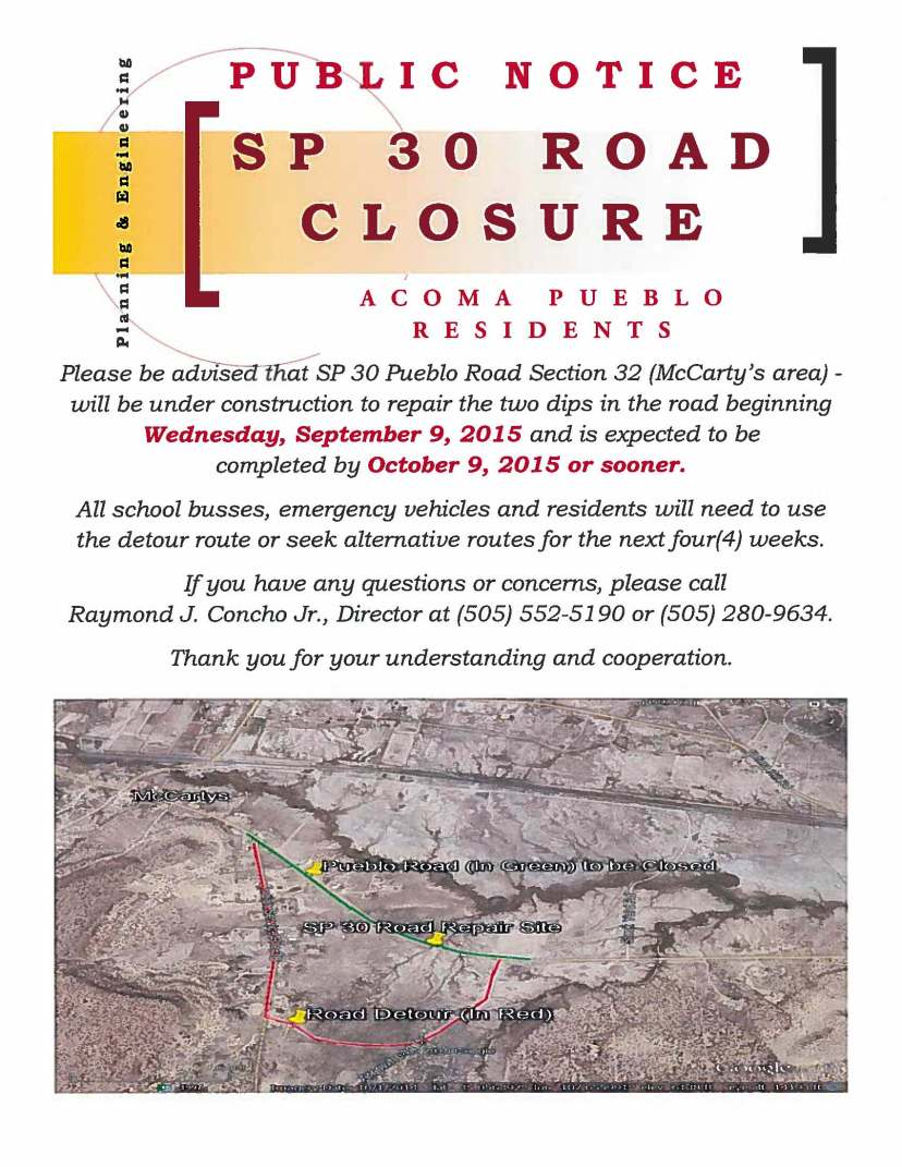 Public Notice Road Closure SP 30 Section 32