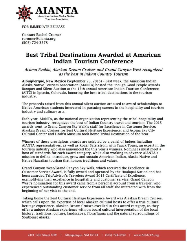 2015 Tribal Destination Awards_Press Release_FINAL(1)
