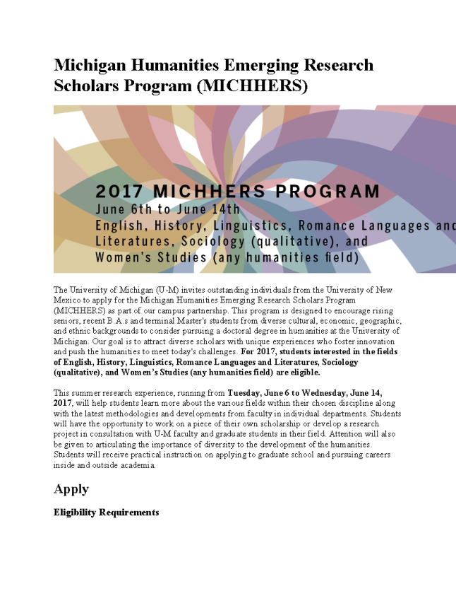 UNM Michigan Humanities Emerging Research Scholars Program flier_Page_1.png