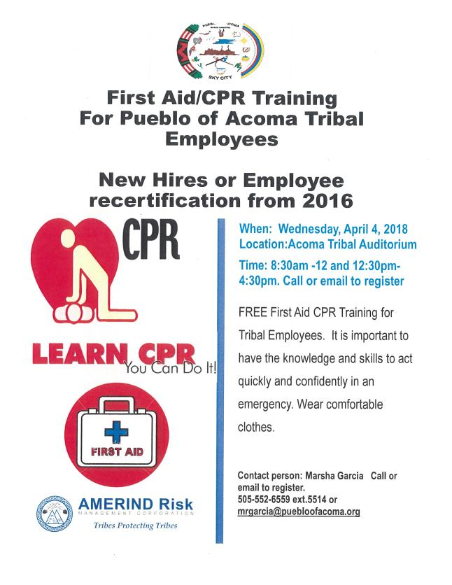 First Aidcpr Training Pueblo Of Acoma Tribal Employees Wednesday