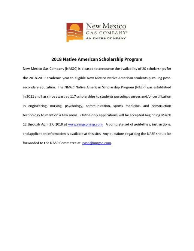 2018 New Mexico Gas Company Native American Scholarship Program ...
