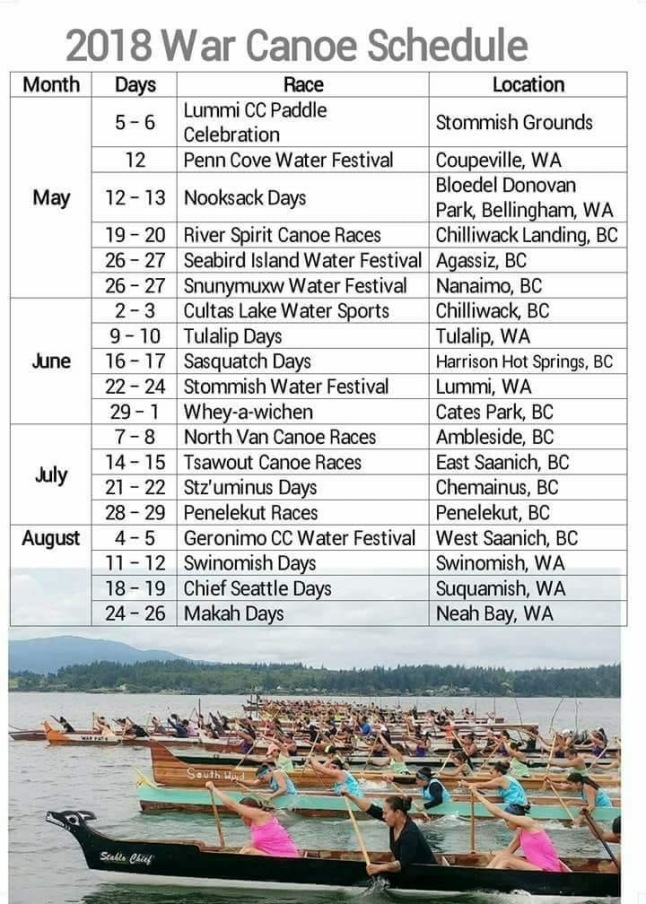 2018 War Canoe Schedule