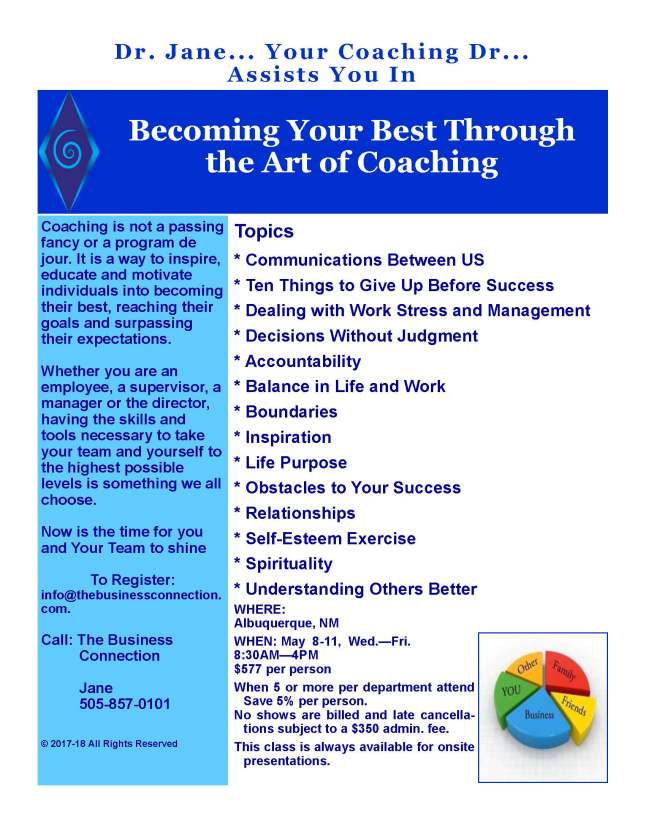 Becoming Your Best Through the Art of Coaching Flyer 4-18