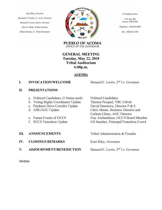 General Meeting Formal Agenda