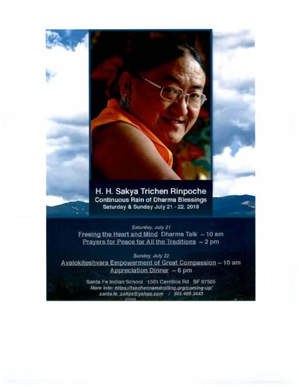 Santa Fe, NM, H  H  Sakya Trichen Rinpoche, Continuous Rain