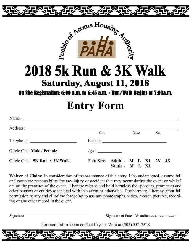 2018 Fun Run Form