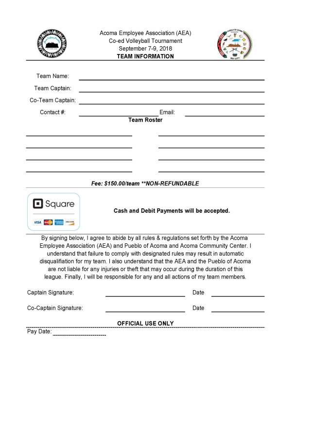 AEA Co-Ed Volleyball Entry Form