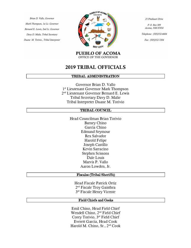 2019 Tribal Offical Listing