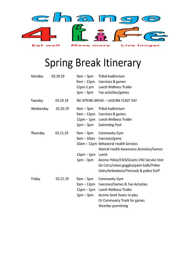 Spring Break Itinerary