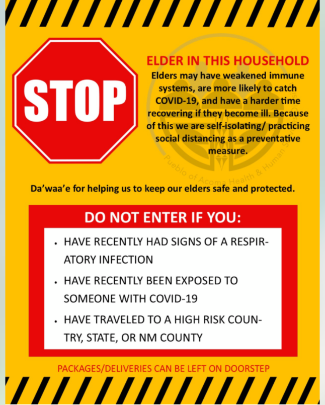 Elders Stop Sign COVID-19