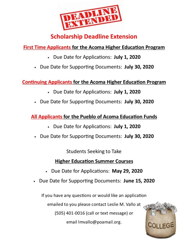 Scholarship Deadline Extension Updated